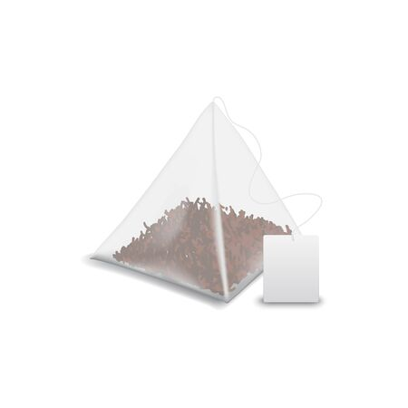 Teabag pyramid with label isolated black tea mockup. Vector tea bag with blank tag, template