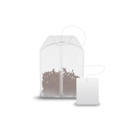 Tea bag with black tea in transparent package isolated. Vector teabag and blank tag mockup  イラスト・ベクター素材