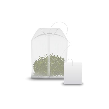 Green tea in teabag with blank label isolated. Vector Chinese drink in pack, mockup template