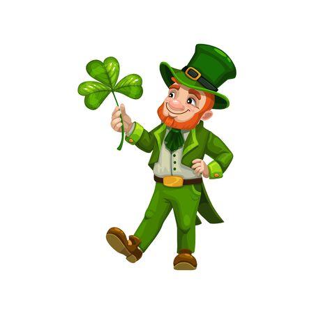 Man cartoon leprechaun with clover symbol of luck isolated. Vector bearded Irish, Saint Patrick Vector Illustration