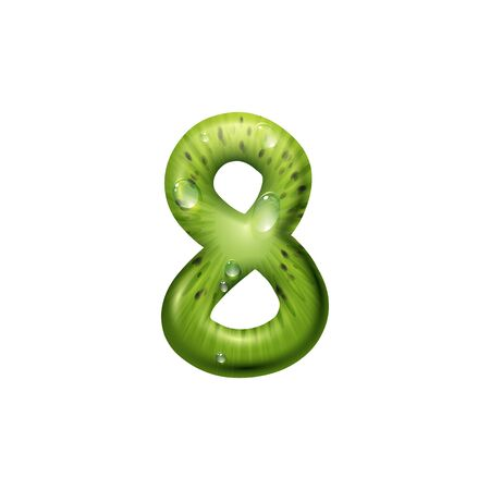 Number 8 of kiwi with seeds isolated eight digit. Vector creative numeral figure, summer font
