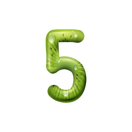 Five number of kiwi fruit isolated summertime numeric symbol. Vector 5 numeral of exotic food