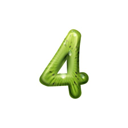 Number four created of tropical kiwi fruit isolated digit figure. Vector 4 numeral, summer font Фото со стока - 136688607