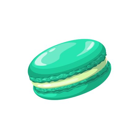 Sweet green macaroon isolated confectionery snack. Vector pastry food cake, french dessert