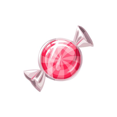 Sucker candy in transparent wrapping isolated swirled caramel. Vector pink sweet snack 向量圖像