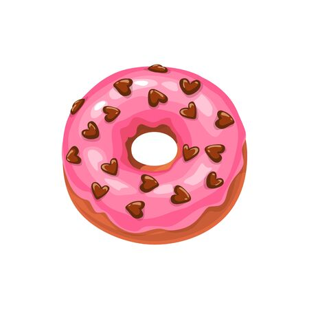 Doughnut with strawberry cream and chocolate hearts isolated cake. Vector donut with sugar glaze 일러스트