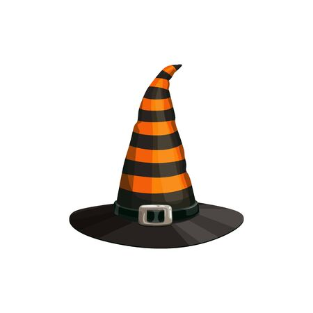 Halloween headdress, striped witch hat with buckle isolated. Vector cartoon headdress, wizard or witch cap