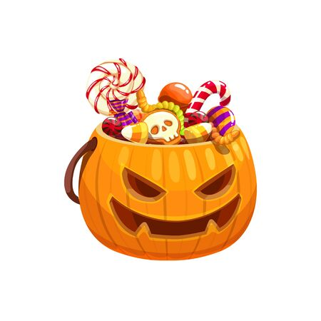 Halloween pumpkin basket full of candies and treats isolated. Vector jack-o-lantern bag with sweets  イラスト・ベクター素材