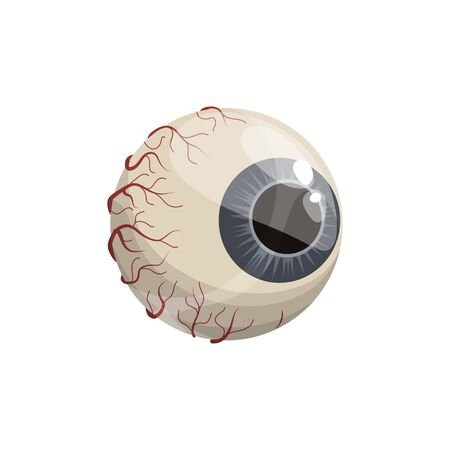 Human eyeball with blue iris isolated icon. Vector ripped out eye, Halloween mascot