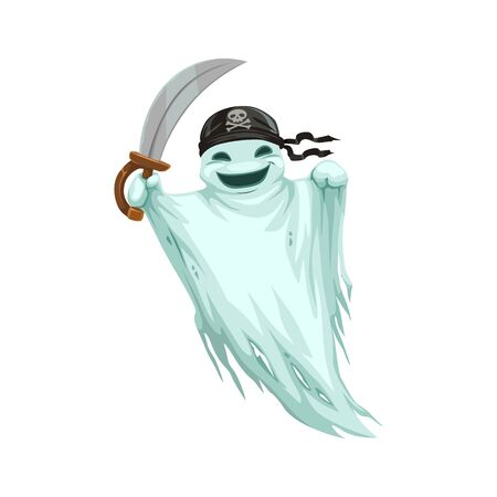 Ghost pirate in bandana with skull and sword isolated evil spirit. Vector Halloween phantom in airy blanket