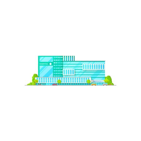 Exterior of medical center isolated hospital building. Vector emergency ambulance, healthcare clinic Ilustração