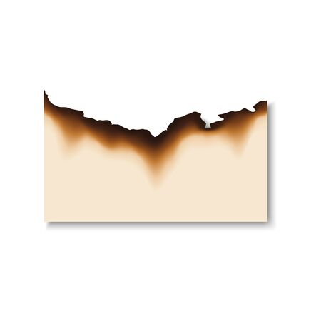 Burnt scorched piece of paper. Vector parchment sheet with dirty edges left by fire or flame  イラスト・ベクター素材