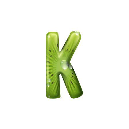 Capital letter K of exotic kiwi isolated summer food alphabet symbol. Vector K, tropical font Ilustração