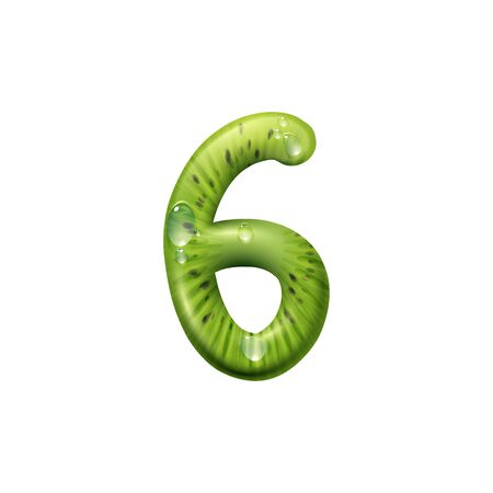 Six digit character made of kiwi with water splashes isolated food numeric. Vector 6 digit, exotic font