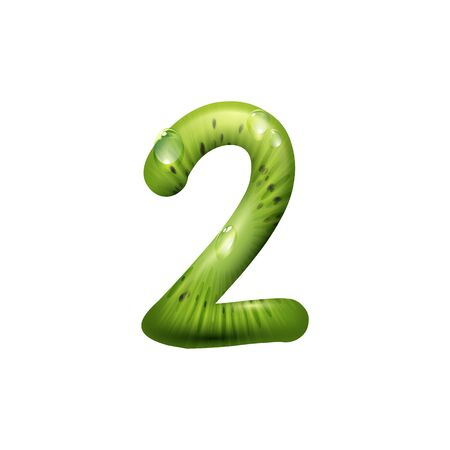 2 number, summer digit of kiwi fruit isolated numeral. Vector exotic font, two figure Фото со стока - 136689135