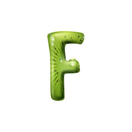 F letter of kiwi and water drops isolated food alphabet sign. Vector summer food typography element