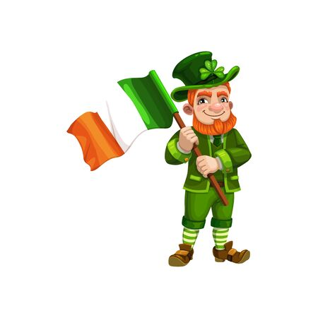 Irish leprechaun with flag of Ireland isolated gnome in green. Vector man with lucky clover in hat