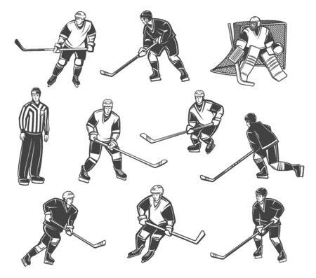 Ice hockey referee and players in motion, vector characters. Professional ice hockey sport team goalkeeper, forward and defender in professional hockey equipment, puck, stick and helmets Foto de archivo - 137776839