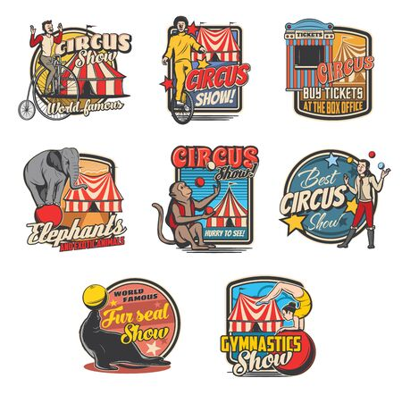 Circus retro icons with vector carnival top tents, trained animals and performers. Clown, elephant and juggler, amusement park ticket, acrobats and monkey, bicycle, balls and marquee tents