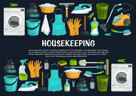 Housekeeping vector banner with cleaning tools, equipment and supplies. Vacuum cleaner, brush and bucket, detergent spray, mop and sponge, soap, window squeegee, duster and washing machine