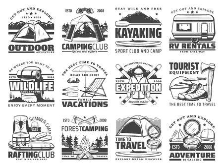 Iconos de vector de aventura al aire libre de viajes, camping y rafting con equipamiento deportivo. Botas de trekking, mochila de senderismo y carpa de campamento de montaña, fogata, brújula y hachas, esquís, kayak, remolque