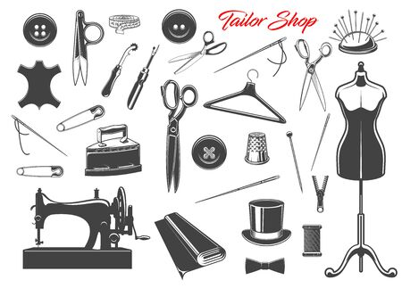 Tailor shop and sewing tool icons. Thread, needles and scissors, sewing machine, spool and button, thimble, tape measure and textile, pin, mannequin and clipper, shears, seam ripper, zipper and fabric