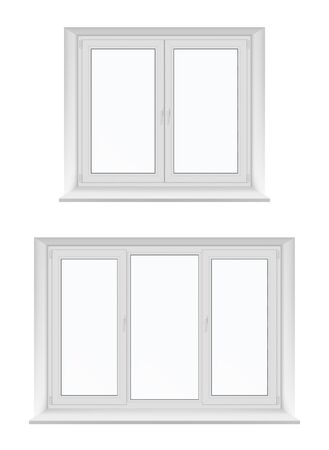 White isolated plastic windows, vector design with PVC frames and glass. Inside view of realistic double casement windows with sills, hinges and locking handles, room interior element