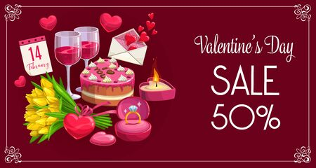 Valentines day holiday seasonal sale, gifts shop promo discount banner. Vector 50 percent sale poster with Valentine hearts, wedding ring and cake, tulip flowers and wine glasses in floral frame Banque d'images - 137775895