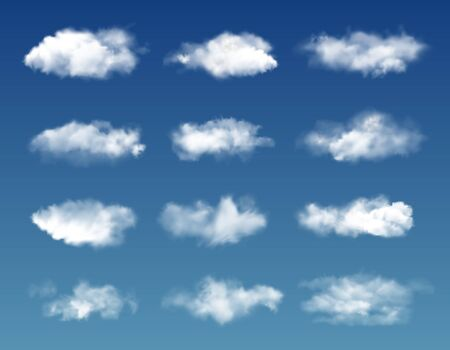 Clouds on blue sky background. Vector realistic white fluffy and transparent realistic clouds. Cloudscape, cloudy heaven, nature and weather, climate and atmosphere