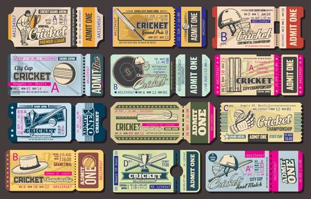 Admit ticket vector templates, cricket sport game championship match event. Cricket ball, bat and winner trophy cup, wicket, glove, helmet and stadium pass tickets, invitation design