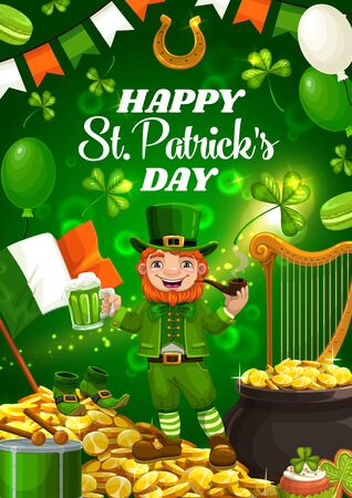 Leprechaun in green suit wishing St. Patricks day. Vector bearded leprechaun gnome with green ale beer and smoking pipe, pot of gold coins and harp. National Ireland flag, shamrock and balloons, drum Archivio Fotografico - 137944965