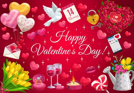 Happy Valentines day greeting with sparkling stars and golden heart balloons. Vector Valentine love kiss lips, love message in phone and wedding rings, gift with flowers and floral bouquets
