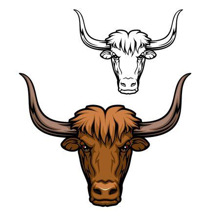 Yak oder domestiziertes wildes Ochsentiermaskottchen des Jagdsports, des Jägervereins oder des Sportteams. Stierkopf isolierte Ikone mit braunem zotteligem Haar und großen gebogenen Hörnern Vektorgrafik