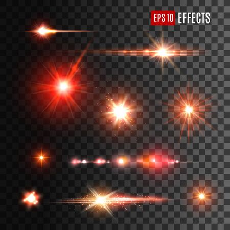 Shine light effects, vector red sparkles and glow with lens flares on transparent background. Shiny star burst and sun beams or rays with sparkles, glare flashes and glowing stripes Vector Illustratie