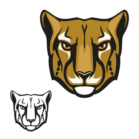 Wild cheetah animal mascot, vector wild cat head with black spots and streaks. Guepard predator mammal, symbol of savannah , hunting club or sport team mascot