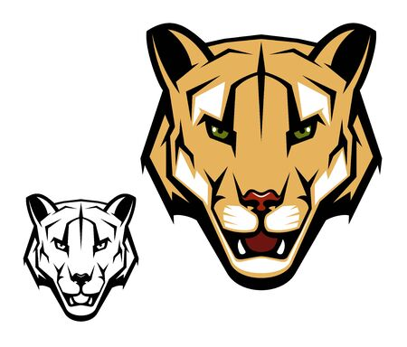 Cougar puma vector mascot with mountain lion head. Wild cat animal with open mouth, dangerous teeth and angry eyes isolated symbol of African safari, hunting sport and hunter club design Banque d'images - 137776969