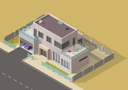 House building isometric vector design of 3d bungalow, villa or mansion with green yard and grass lawn. City and village real estate house building with car garage, balcony and terrace Ilustração