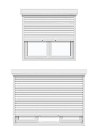 Fenêtres avec volets roulants, entrouvertes. Fenêtres à battants en plastique blanc réaliste 3d vectorielles avec stores roulants en métal ou en aluminium et profilés de cadre UPVC, sécurité de la maison et du bureau, construction Vecteurs