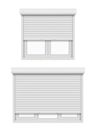 Windows with roller shutters, half opened. Vector 3d realistic white plastic casement windows with metal or aluminum rolling blinds and UPVC frame profiles, house and office security, construction 矢量图像