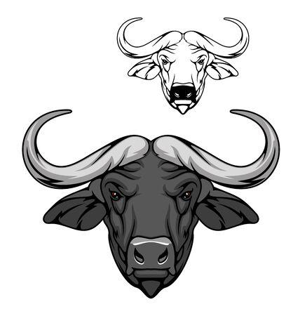 Mascotte del fumetto di vettore testa di bufalo, animale della savana africana. Bue selvatico, carabao o toro bisonte con corna fuse e muso grigio, mascotte della caccia, club sportivo Vettoriali