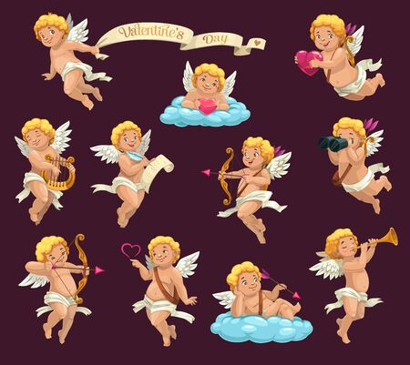 Cupid angels cartoon vector characters of Valentines Day holiday. Cartoon Amurs or cherubs flying with hearts, arrows and bows, love letter, harp and pipe, clouds, binoculars and vintage ribbon banner Illustration