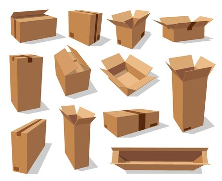 Cardboard boxes, brown carton paper packages, vector realistic mockup templates. Open empty cardboard boxes with adhesive tape, square and rectangular storage and delivery shipping packs