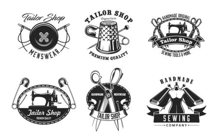 Tailor shop and sewing vector icons. Sewing machine and thread, needle and button, thimble, scissors and pin, mannequin, fabric. Handmade tailoring and clothing isolated vector symbols with text