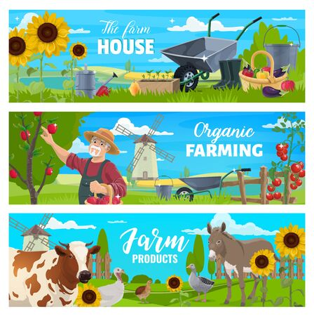 Vector banners. Cow, goose and quail, gardener with apples in garden, tomatoes, peppers and buckets, watering can, wheelbarrows. Farmer at farm with animal, vegetable and fruits