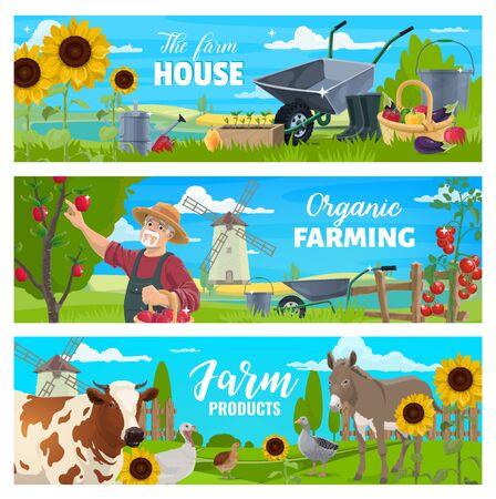 Vektor-Banner. Kuh, Gans und Wachtel, Gärtner mit Äpfeln im Garten, Tomaten, Paprika und Eimer, Gießkanne, Schubkarren. Bauer auf dem Bauernhof mit Tier, Gemüse und Obst