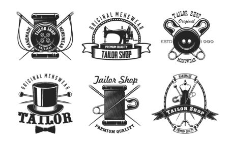 Tailor shop vector icons with sewing machine, needles and threads, buttons, pins and mannequin, retro top hat and bow tie. Sewing tool symbols of craft workshop, fashion designer studio or atelier