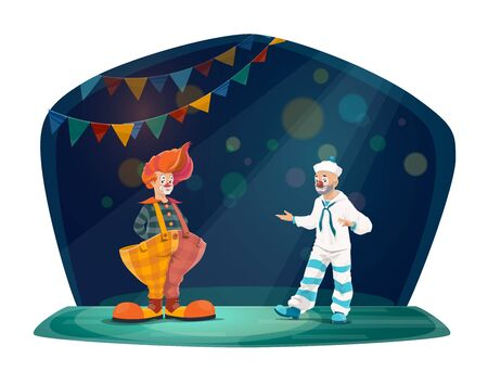 Circus and funfair carnival, circus vector cartoon characters. Clown in red wig and big trousers, mime artist performing entertainment jokes on big top circus stage