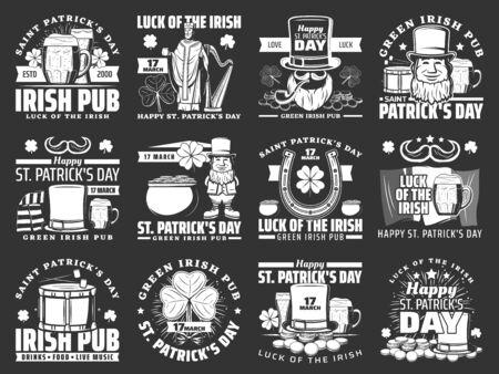 Happy Saint Patricks day icons. Vector Ireland flag, Irish green beer sign and Saint Patrick with shamrock three leaf clover, harp, drum, horseshoe and ale beer pint, leprechaun and money pot Archivio Fotografico - 137939453