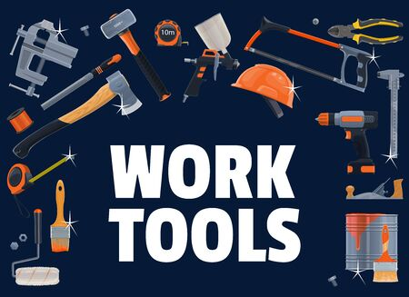 Construction tools. Vector carpentry, DIY, building industry equipment. Electric drill, hammer and screwdriver, saw and plastering tool, ax, vise, planer and paint brush, pliers and hardhat, grinder