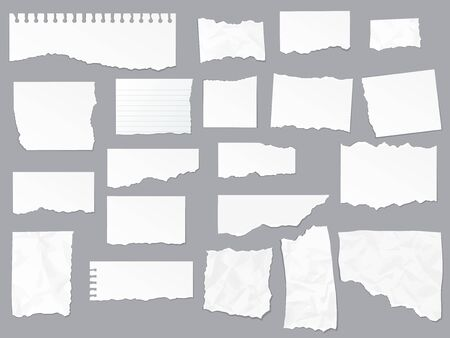 Torn paper notes, vector copybook page sheets, realistic empty piece of paper. Notebook or copybook on lined paper with shred and ripped edges Illustration